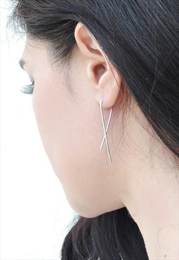 Bent Wire Sterling Silver Earring