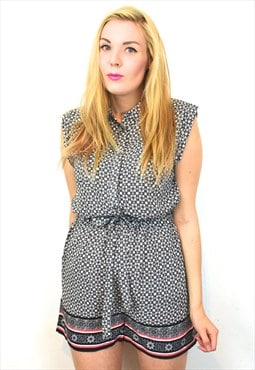 Cute High Waisted Monochrome Folk Playsuit 12