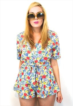 High Waisted Floral Genuine Vintage Mini Playsuit 10