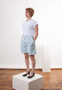 High Waisted Pale Blue Pleated Shorts