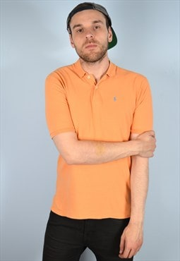 Polo Ralph Lauren Mens Vintage Polo Shirt Large Orange 90's
