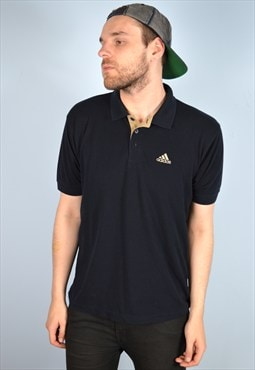 Adidas Mens Vintage Polo Shirt Large Navy Blue 90's