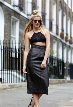 Vintage '80s Black Leather Midi Skirt