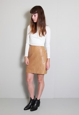 Vintage 1980's Amazing Camel Brown Soft Leather Mini Skirt