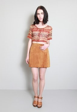 Vintage 1970's Brown Pocketed Soft Suede Mini Skirt