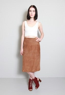 Vintage 1970's Brown Soft Suede Midi Skirt