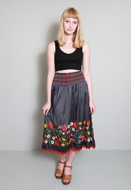 Vintage 1970s Grey Satin Multi Coloured Embroidered Skirt