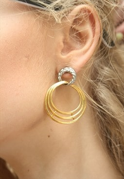 1980's Silver & Gold Loop Drop Earrings