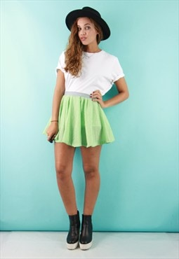 Green Gingham Mini Skater Skirt