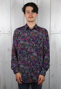 Vintage 1970s Classic Disco Patterned Crazy Print Shirt (L)