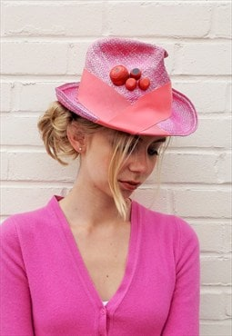 Fairtrade Panama Straw Trilby with Upcycled Skateboard Stud