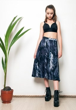 80s midi skirt lightning bolt printed vintage full skirt