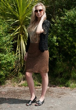 Vintage Leopard Leather Skirt