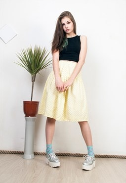 Polka dot skirt 80s high waisted pastel yellow midi skirt