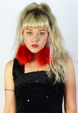 Red/ Gold Sparkle Mega Fluff Pom Pom Earrings