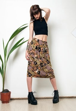 Autumn flower print 90s high waisted midi skirt