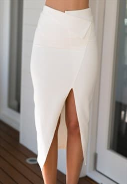 White Midi Skirt - Miss Ivy Skirt