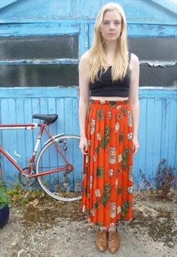 Orange Pleated Bohemian Skirt