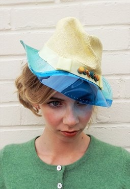 Fairtrade Panama Lemon Yellow Straw Trilby with Blue Brim