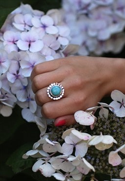 Silver & Turquoise Stone Tibetan Boho Ring
