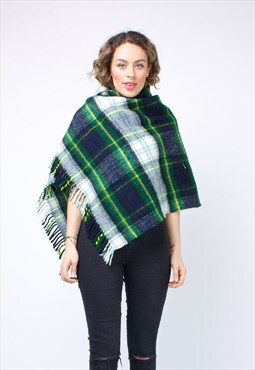 UK90's Tartan Blanket Throw / Shrug 303ST40
