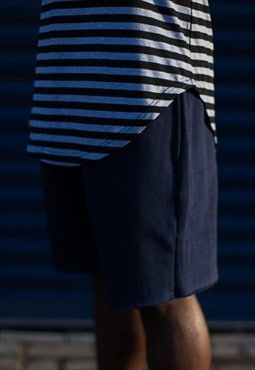 Raw Cut Jersey Shorts - Navy Blue