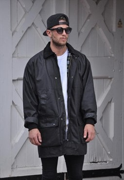 NEW mens Black oversize Wax Coat Jacket
