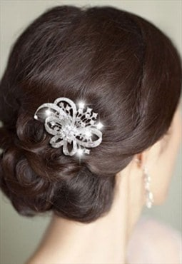 Bridal bow knot Art Deco flower hair comb Austrian crystal