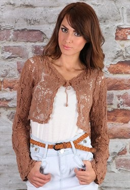 Brown Crochet Cropped Shrug