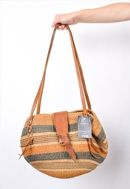 90s Vintage Woven Wicker Tan leather Shoulder Bag