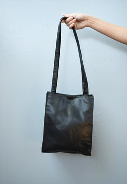 90's black minimalist faux leather petite shoulder bag
