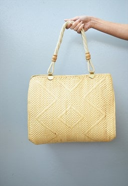 80's retro Boho minimalist beach raffia shoulder bag