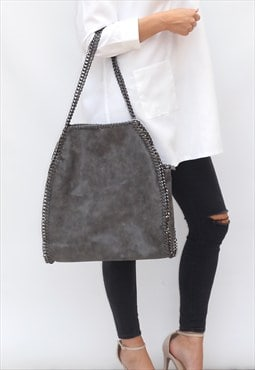 RESTOCKED Grey Chain Shoulder Bag