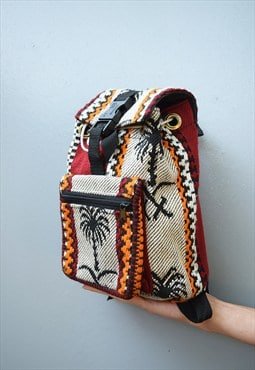 90's retro Hippie woven petite canvas backpack