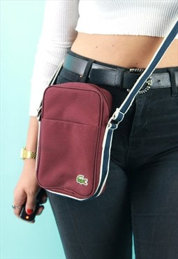 Original Lacoste Unisex Burgandy Across Body Bag