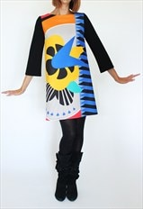 Moon dress with arty print