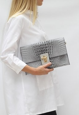 Large Grey Fold Over Crocodile Clutch Bag