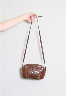 Vintage 1970's Brown Mock Croc Leather Shoulder Bag