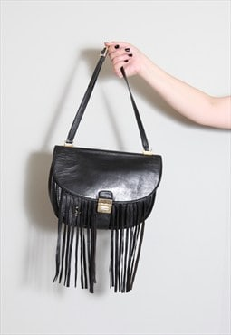 Vintage 1980's Black Leather Fringed Handbag