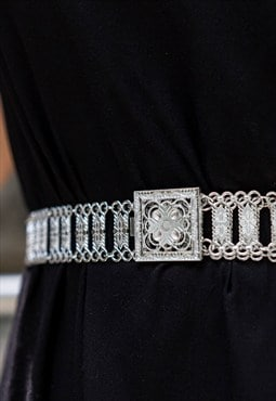 Ethnic tribal silver plated belt