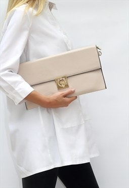 Large Cream Fold Over Clutch Bag