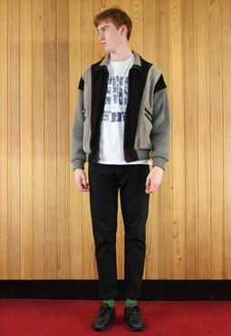 Vintage 1980s Grey and Black Suede Jacket