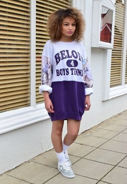 Vintage Retro 90's Reworked Grey and Purple Jumper