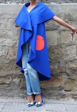 Blue Oversized Cashmere Vest , Extravagant Vest, Maxi Coat