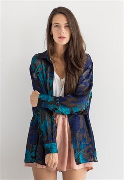 Vtg oversized sheer floral kimono shirt 312