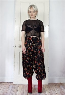 Vintage black floral print tapered trousers VA1010