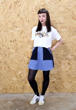 LOOT LABEL Panelled 70s Denim Skirt