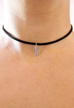 Black cross choker (two tone)