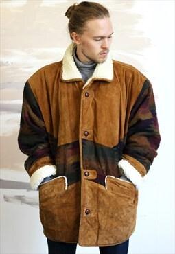 Vintage Aztec Navajo Sheepskin Jacket