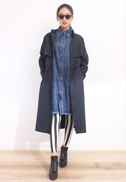 Navy Buttonless Autumn Coat